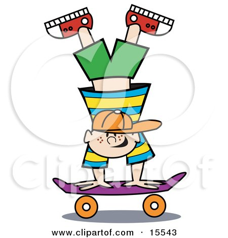 Talented Happy Blond Haired Freckled And Buck Toothed Boy Doing A Handstand Trick On A Skateboard While Playing Clipart Illustration