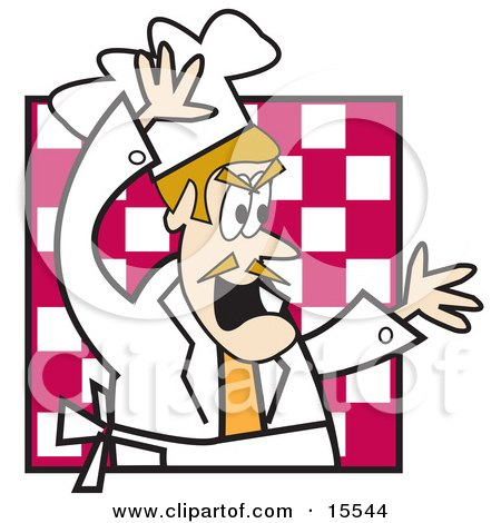 Angry and Frustrated Tempermental Male Chef Screaming and Yelling in the Kitchen of a Restaurant Clipart Illustration by Andy Nortnik