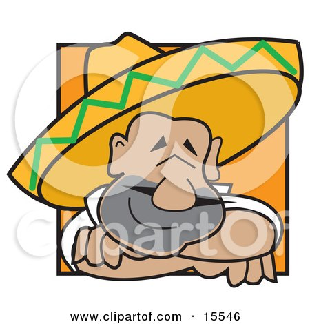 Friendly And Happy Mexican Man Wearing A Sombrero Resting His Head On His Arms While Smiling Clipart Illustration