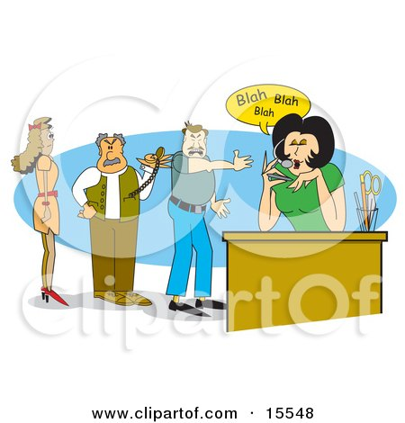Two Frustrated Men And A Woman Standing In Line While Waiting For A Chatty Receptionist To Get Off Of The Phone With A Personal Call Clipart Illustration