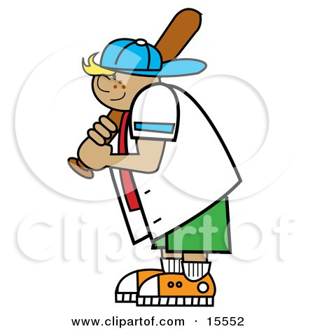 Freckled Blond Boy Wearing A Hat And Holding A Baseball Bat While Playing Clipart Illustration