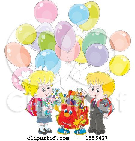 Clipart of a Happy Bag with School Kids and Party Balloons - Royalty Free Vector Illustration by Alex Bannykh