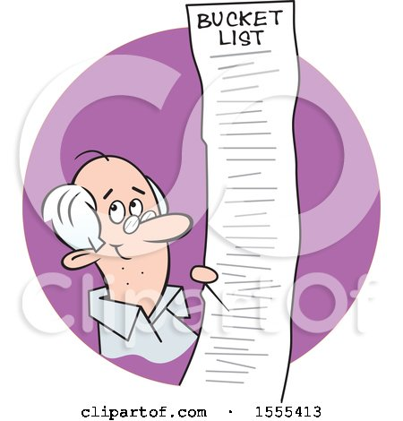 Clipart of a Cartoon Caucasian Senior Man with a Long Bucket List, in a Purple Circle - Royalty Free Vector Illustration by Johnny Sajem