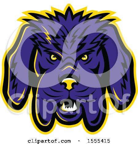 Clipart of a Retro Angry Newfoundland Dog Mascot Head - Royalty Free Vector Illustration by patrimonio