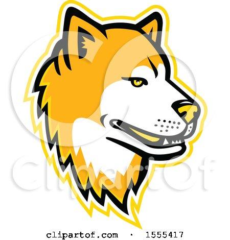 Clipart of a Retro Akita Dog Mascot Head - Royalty Free Vector Illustration by patrimonio