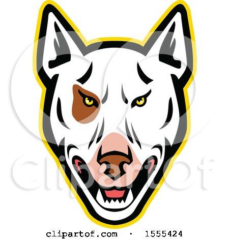 Clipart of a Retro Bull Terrier Dog Mascot Head - Royalty Free Vector Illustration by patrimonio