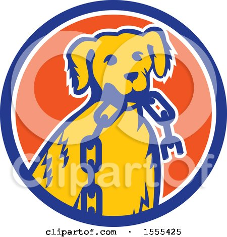 Clipart of a Retro Golden Retriever Dog Sitting with a Broken Chain in His Mouth Inside a Circle - Royalty Free Vector Illustration by patrimonio