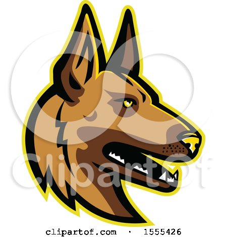 Clipart of a Retro Belgian Malinois Dog Mascot Head - Royalty Free Vector Illustration by patrimonio