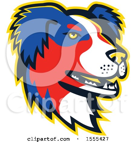 Clipart of a Retro Australian Shepherd Dog Mascot Head - Royalty Free Vector Illustration by patrimonio