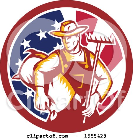 Clipart of a Retro Woodcut Male Farmer Holding a Rake and Sack in an American Flag Circle - Royalty Free Vector Illustration by patrimonio