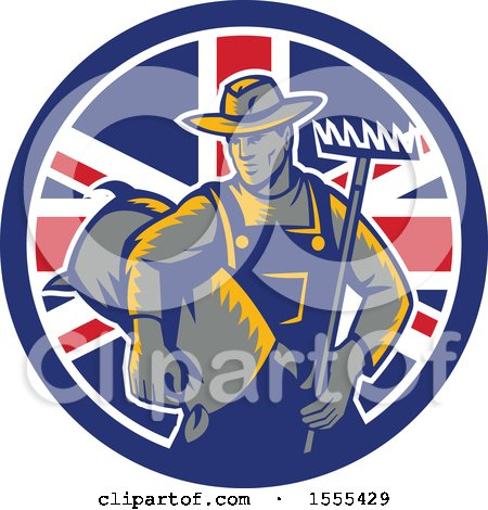 Clipart of a Retro Woodcut Male Farmer Holding a Rake and Sack in a Union Jack Flag Circle - Royalty Free Vector Illustration by patrimonio