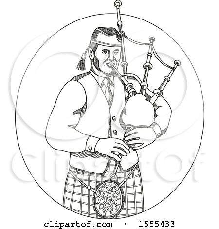 Clipart of a Sketched Male Scotsman Bagpiper - Royalty Free Vector Illustration by patrimonio