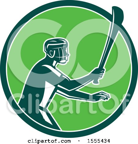 Clipart of a Retro Male Hurling Player Holding a Wooden Hurley Stick in a Green Circle - Royalty Free Vector Illustration by patrimonio