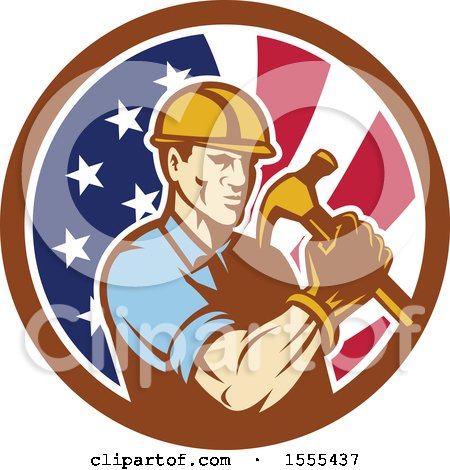 Clipart of a Retro Male Builder Construction Worker Holding an American Flag Circle - Royalty Free Vector Illustration by patrimonio