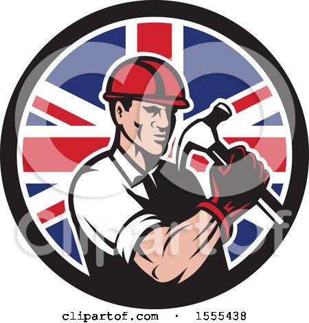Clipart of a Retro Male Builder Construction Worker Holding a Union Jack Flag Circle - Royalty Free Vector Illustration by patrimonio