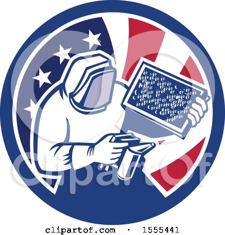 Clipart of a Retro Beekeeper Smoking out a Hive in an American Flag Circle - Royalty Free Vector Illustration by patrimonio