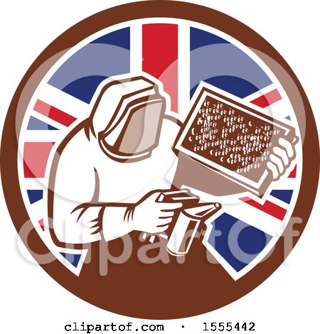 Clipart of a Retro Beekeeper Smoking out a Hive in a Union Jack Flag Circle - Royalty Free Vector Illustration by patrimonio