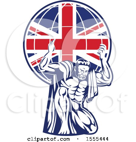 Retro Strong Man, Atlas, Kneeling and Holding a Uk Flag Globe on His Shoulders Posters, Art Prints