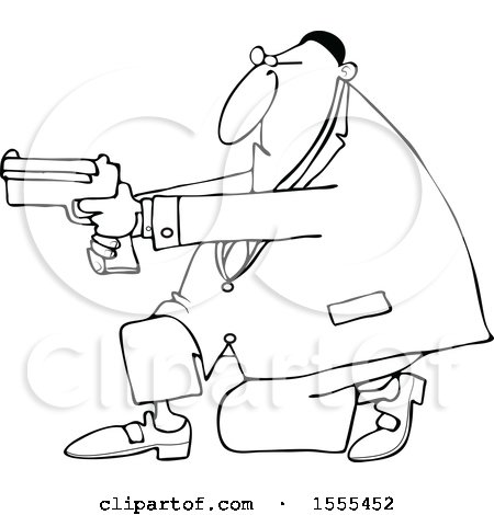 Clipart of a Cartoon Lineart Black Man Kneeling and Using a Pistol - Royalty Free Vector Illustration by djart