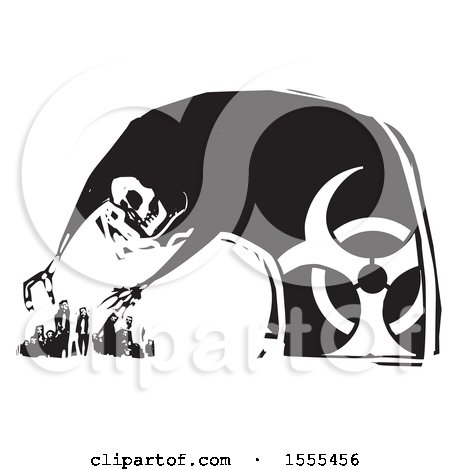 Clipart Of A skeleton, death, with a biohazard symbol, hovering over people and ready to grab them - Royalty Free Vector Illustration by xunantunich