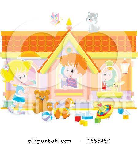 Clipart of a Cat and Butterfly over Caucasian Kids Playing in a Toy House - Royalty Free Vector Illustration by Alex Bannykh