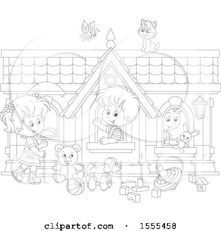 Clipart of a Lineart Cat and Butterfly over Children Playing in a Toy House - Royalty Free Vector Illustration by Alex Bannykh