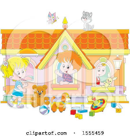 Clipart of a Cat and Butterfly over Kids Playing in a Toy House - Royalty Free Vector Illustration by Alex Bannykh