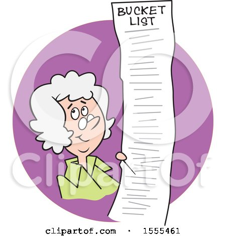 Clipart of a Cartoon White Senior Lady with a Long Bucket List in a Purple Circle - Royalty Free Vector Illustration by Johnny Sajem