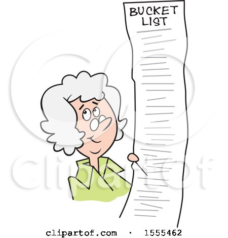 Clipart of a Cartoon White Senior Woman with a Long Bucket List - Royalty Free Vector Illustration by Johnny Sajem