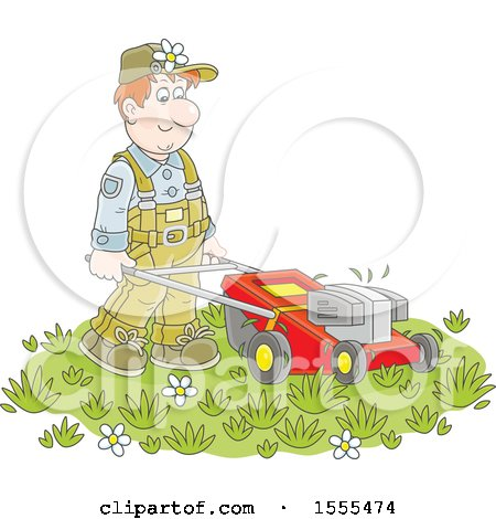 Clipart of a White Male Landscaper Using a Push Mower - Royalty Free Vector Illustration by Alex Bannykh