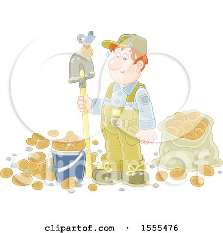 Clipart of a Caucasian Male Potato Farmer with a Bird on His Shovel - Royalty Free Vector Illustration by Alex Bannykh