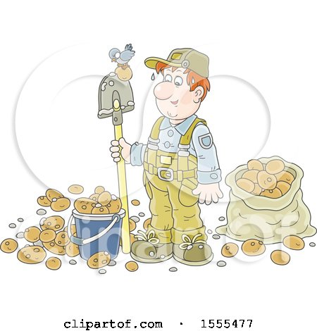 Clipart of a White Male Potato Farmer with a Bird on His Shovel - Royalty Free Vector Illustration by Alex Bannykh