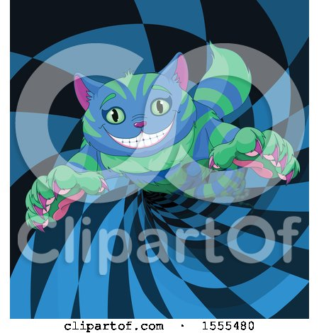 Clipart of a Grinning Striped Blue and Green Cheshire Cat in a Wormhole - Royalty Free Vector Illustration by Pushkin