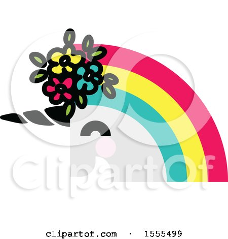 Clipart of a Rainbow Haired Unicorn Head - Royalty Free Vector Illustration by elena