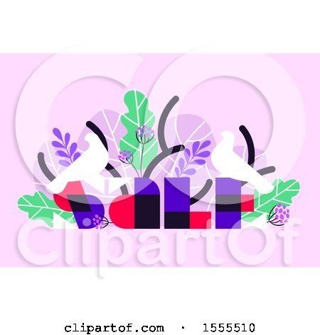 Clipart of a Bird and Tropical Foliage Sale Design on Pink - Royalty Free Vector Illustration by elena