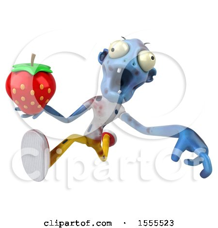 Clipart of a 3d Blue Zombie Holding a Strawberry, on a White Background - Royalty Free Illustration by Julos