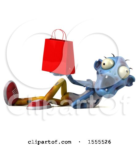 Clipart of a 3d Blue Zombie Holding a Shopping Bag, on a White Background - Royalty Free Illustration by Julos