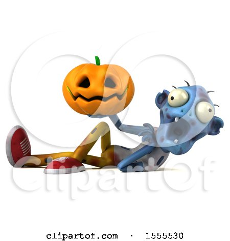Clipart of a 3d Blue Zombie Holding a Jackolantern, on a White Background - Royalty Free Illustration by Julos
