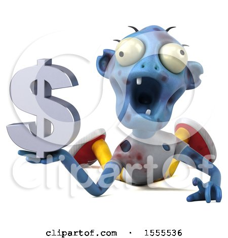 Clipart of a 3d Blue Zombie Holding a Dollar Sign, on a White Background - Royalty Free Illustration by Julos