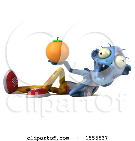 Clipart of a 3d Blue Zombie Holding an Orange, on a White Background - Royalty Free Illustration by Julos
