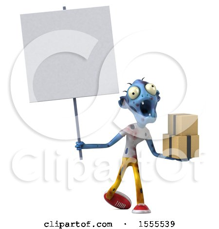 Clipart of a 3d Blue Zombie Holding Boxes, on a White Background - Royalty Free Illustration by Julos