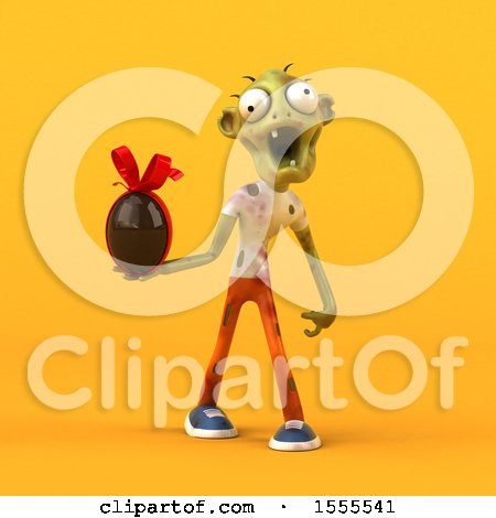 Clipart of a 3d Zombie Holding a Chocolate Egg, on a Yellow Background - Royalty Free Illustration by Julos