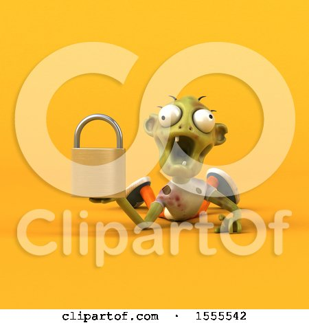 Clipart of a 3d Zombie Holding a Padlock, on a Yellow Background - Royalty Free Illustration by Julos