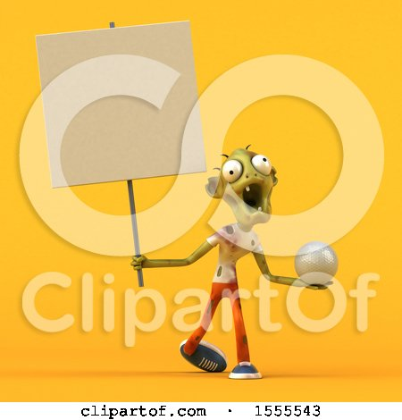 Clipart of a 3d Zombie Holding a Golf Ball, on a Yellow Background - Royalty Free Illustration by Julos