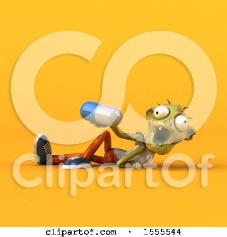 Clipart of a 3d Zombie Holding a Pill, on a Yellow Background - Royalty Free Illustration by Julos