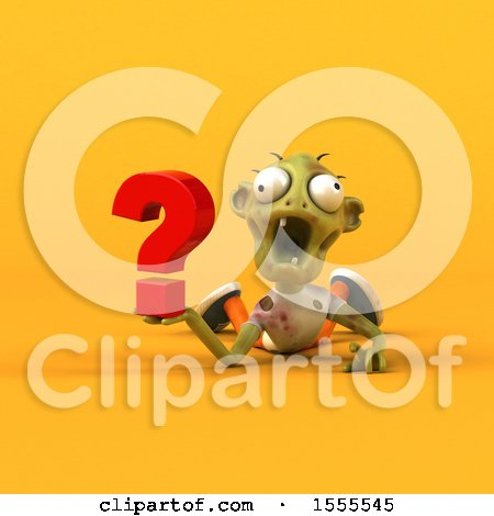 Clipart of a 3d Zombie Holding a Question Mark, on a Yellow Background - Royalty Free Illustration by Julos