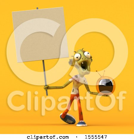 Clipart of a 3d Zombie Holding a Tv, on a Yellow Background - Royalty Free Illustration by Julos
