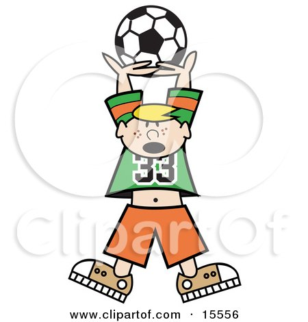 Freckled Blond Haired Boy Holding A Soccer Ball High Up Above His Head Clipart Illustration by Andy Nortnik