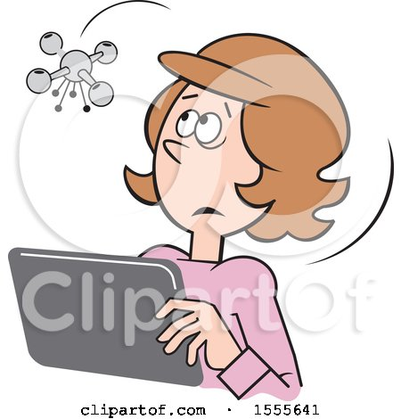 Clipart of a Cartoon Drone Hovering over a White Woman Using a Tablet - Royalty Free Vector Illustration by Johnny Sajem