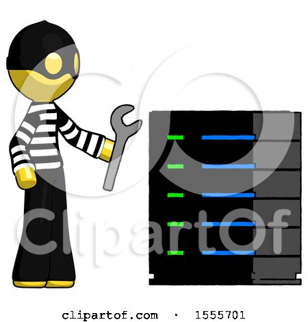 Yellow Thief Man Server Administrator Doing Repairs by Leo Blanchette